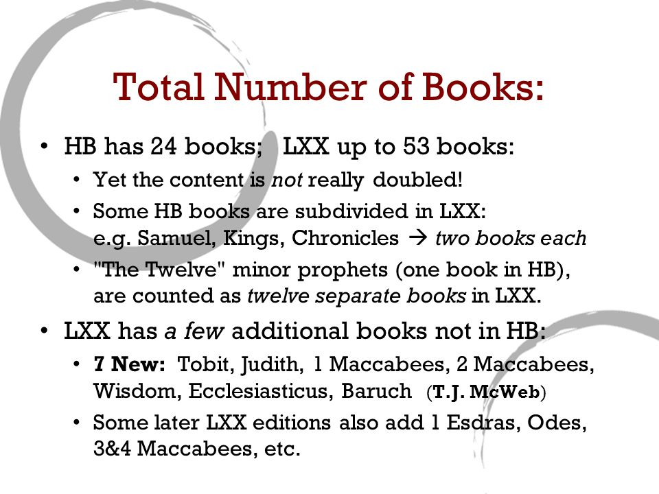 Total Number of Books: HB has 24 books; LXX up to 53 books: Yet the content is not really doubled.