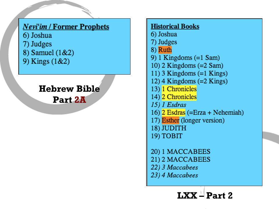 Hebrew Bible Part 2A LXX – Part 2