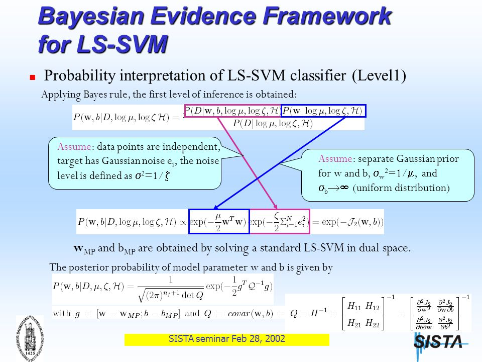 SISTA seminar Feb 28, 2002 Bayesian Evidence Framework for LS-SVM Probability interpretation of LS-SVM classifier (Level1) Applying Bayes rule, the first level of inference is obtained: Assume: data points are independent, target has Gaussian noise e i, the noise level is defined as  2 =1/  Assume: separate Gaussian prior for w and b,  w 2 =1/ , and  b  (uniform distribution) w MP and b MP are obtained by solving a standard LS-SVM in dual space.
