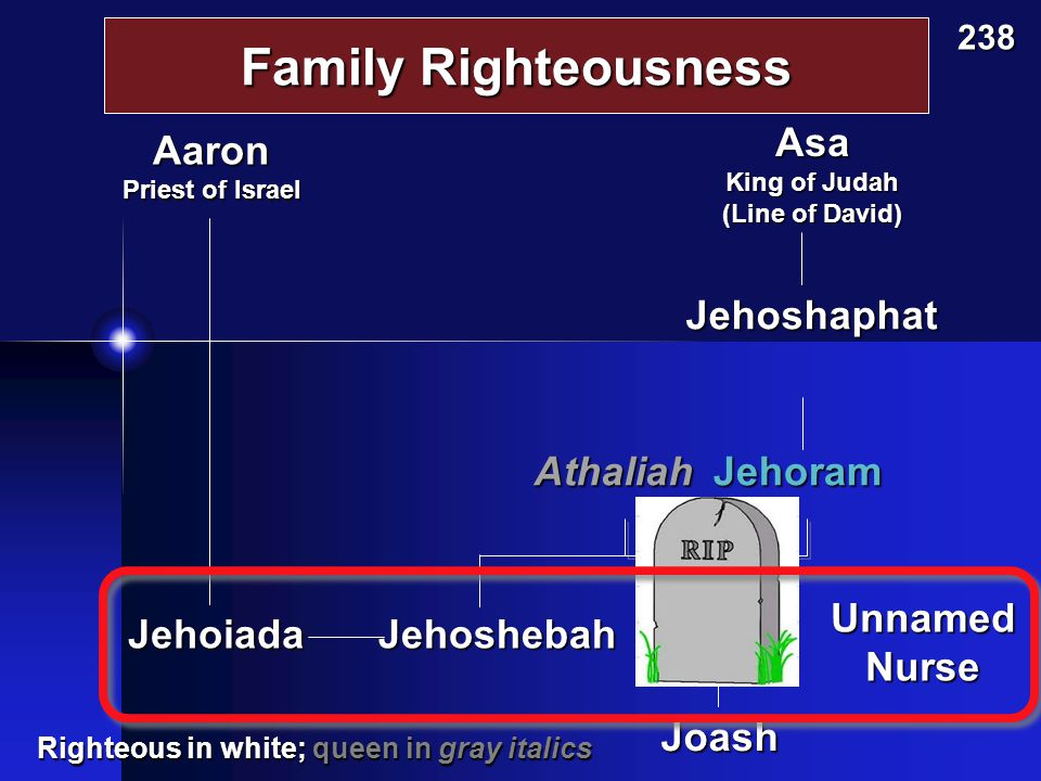 Family Righteousness Jehoshaphat AthaliahJehoram Joash Ahaziah Asa King of Judah (Line of David) 238 Aaron Priest of Israel Righteous in white; queen