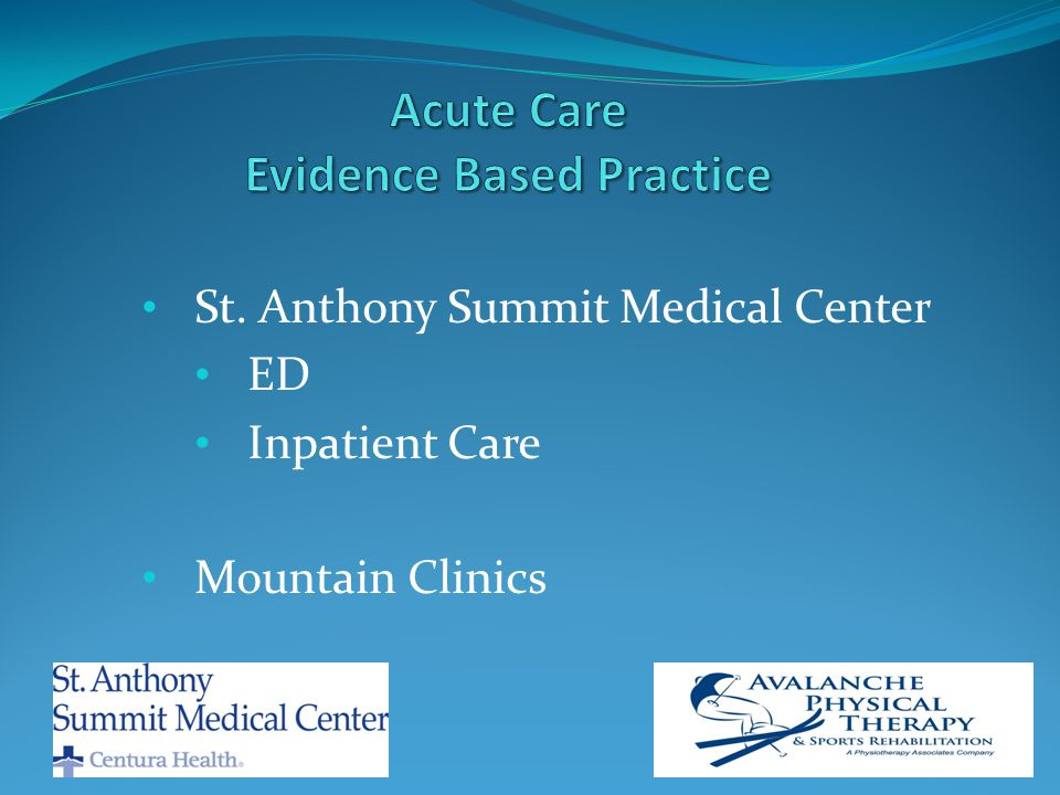 St. Anthony Summit Medical Center ED Inpatient Care Mountain Clinics