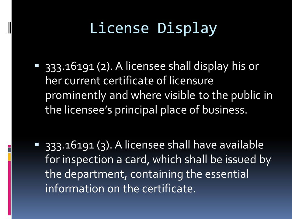 License Display  333.16191 (2).
