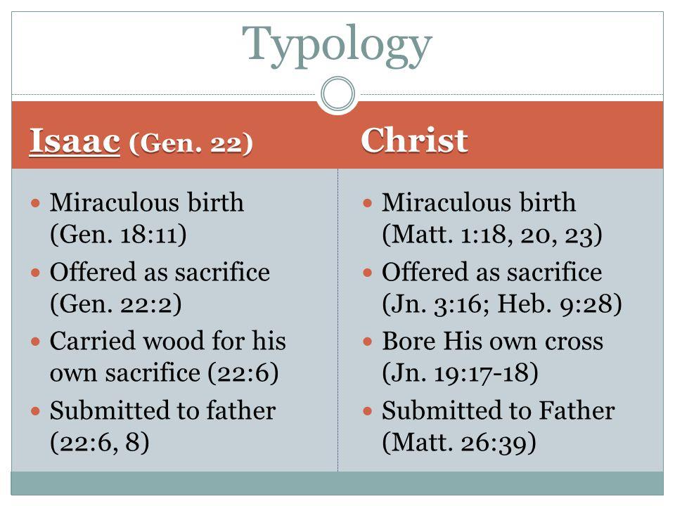Isaac (Gen. 22) Christ Miraculous birth (Gen. 18:11) Offered as sacrifice (Gen.