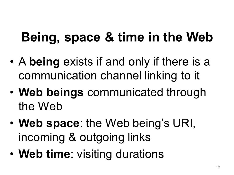 Being, space & time in the Web A being exists if and only if there is a communication channel linking to it Web beings communicated through the Web We