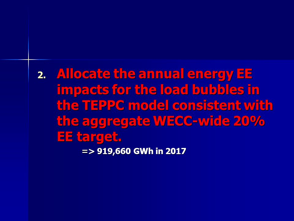 2. Allocate the annual energy EE impacts for the load bubbles in the TEPPC model consistent with the aggregate WECC-wide 20% EE target. => 919,660 GWh