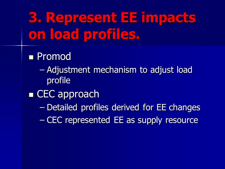 3.Represent EE impacts on load profiles.