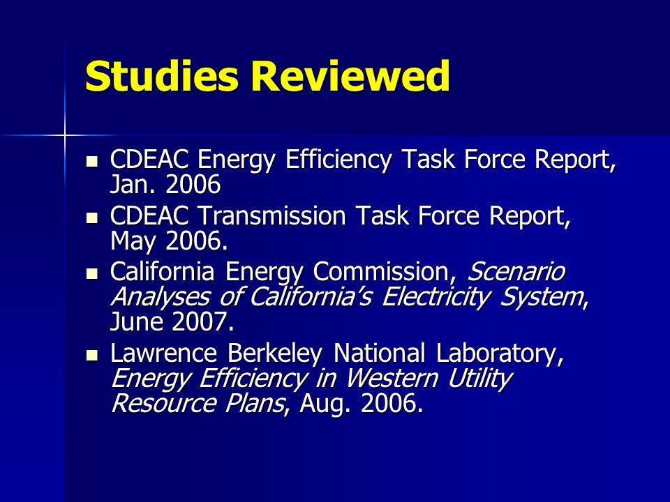Studies Reviewed CDEAC Energy Efficiency Task Force Report, Jan.