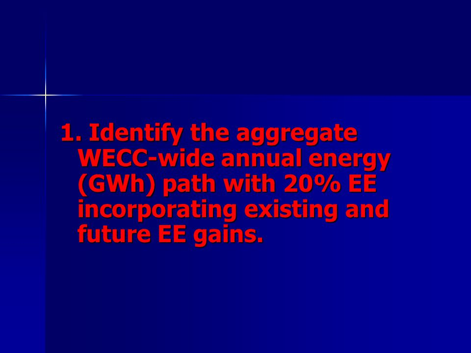 1. Identify the aggregate WECC-wide annual energy (GWh) path with 20% EE incorporating existing and future EE gains.