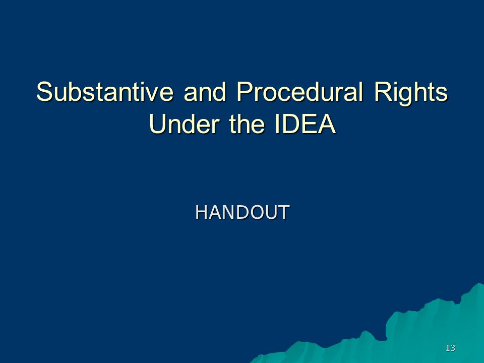 13 Substantive and Procedural Rights Under the IDEA HANDOUT