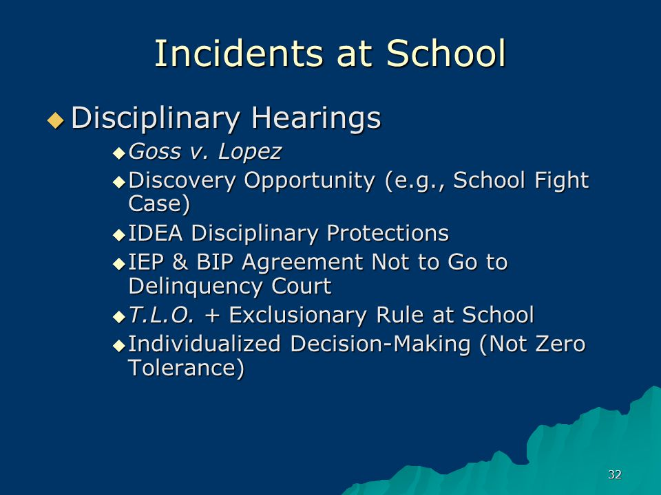 32 Incidents at School  Disciplinary Hearings  Goss v.