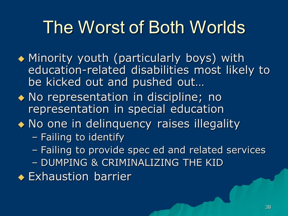 38 The Worst of Both Worlds  Minority youth (particularly boys) with education-related disabilities most likely to be kicked out and pushed out…  No representation in discipline; no representation in special education  No one in delinquency raises illegality –Failing to identify –Failing to provide spec ed and related services –DUMPING & CRIMINALIZING THE KID  Exhaustion barrier