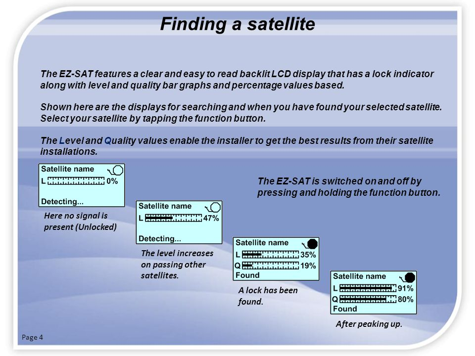 Advanced installation techniques (peaking up) Now that you have acquired your satellite follow these steps to further improve your signal.