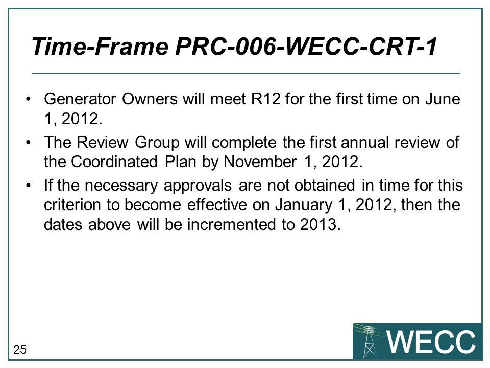 25 Generator Owners will meet R12 for the first time on June 1, 2012. The Review Group will complete the first annual review of the Coordinated Plan b