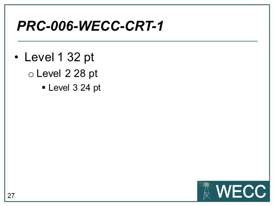 27 Level 1 32 pt o Level 2 28 pt  Level 3 24 pt PRC-006-WECC-CRT-1