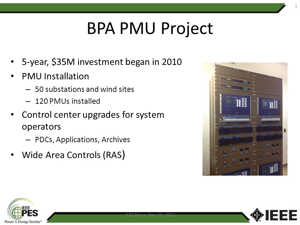 BPA PMU Project 5-year, $35M investment began in 2010 PMU Installation – 50 substations and wind sites – 120 PMUs installed Control center upgrades fo