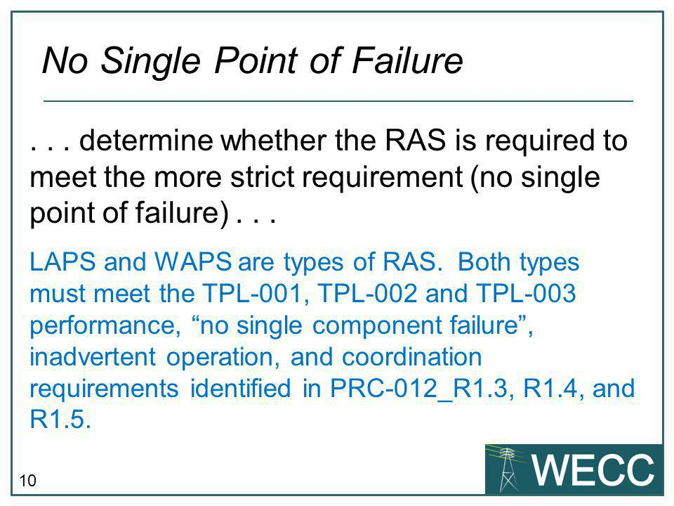 10 No Single Point of Failure LAPS and WAPS are types of RAS.