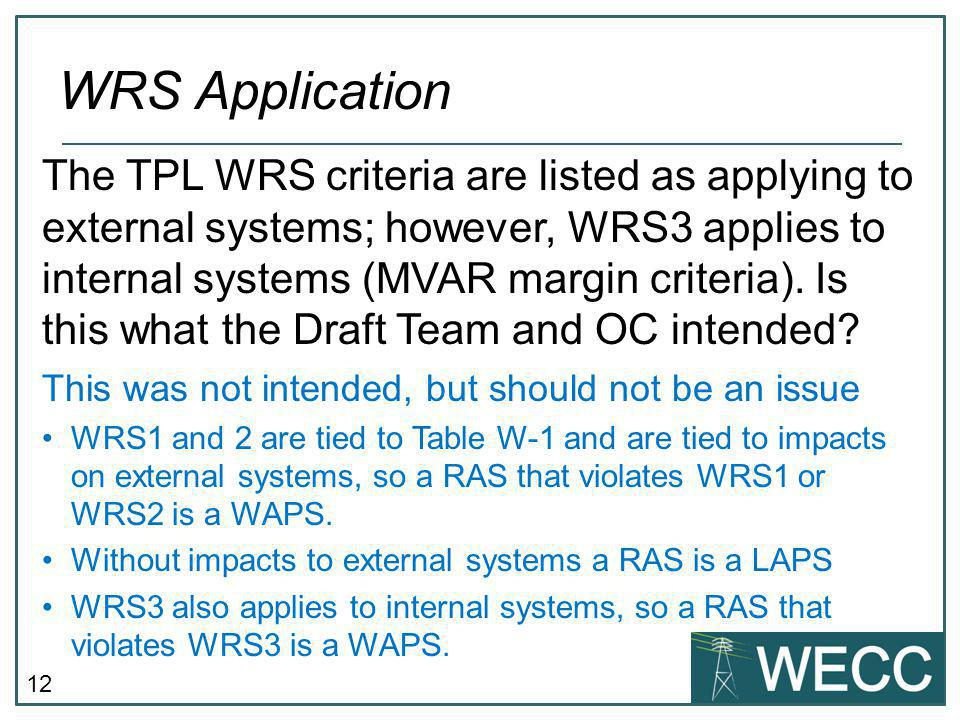12 WRS Application The TPL WRS criteria are listed as applying to external systems; however, WRS3 applies to internal systems (MVAR margin criteria).