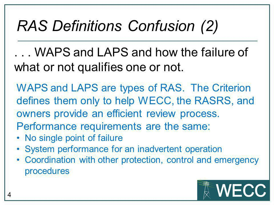 4... WAPS and LAPS and how the failure of what or not qualifies one or not.