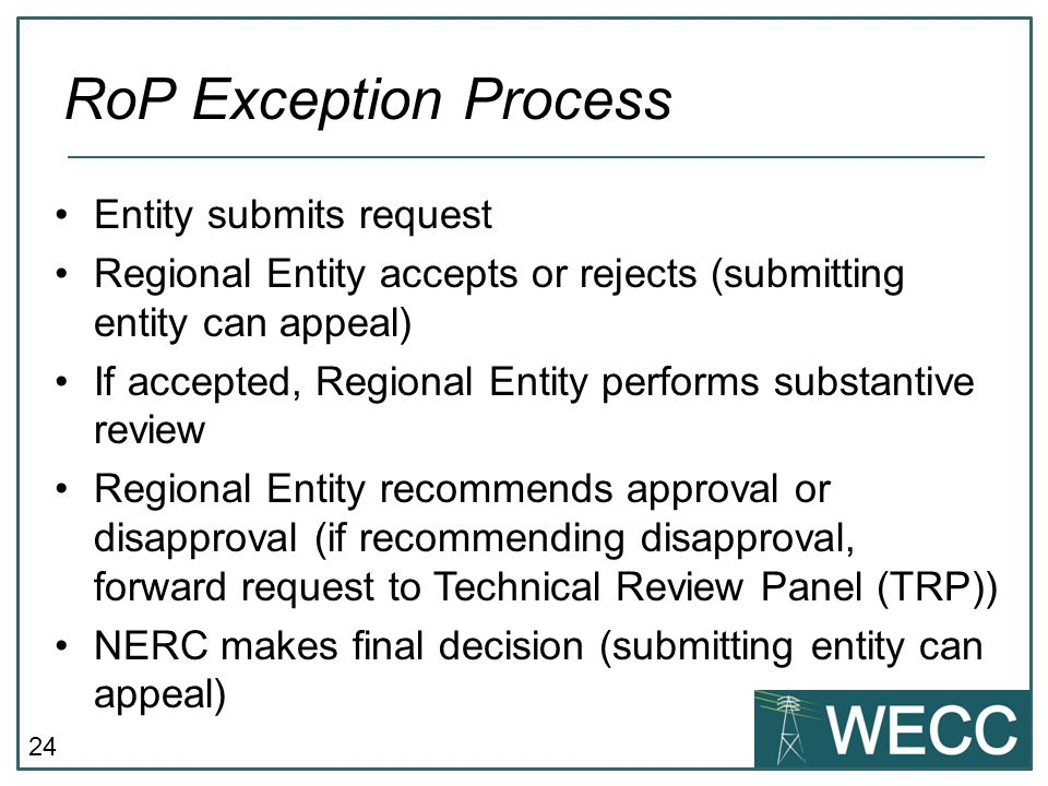24 Entity submits request Regional Entity accepts or rejects (submitting entity can appeal) If accepted, Regional Entity performs substantive review R