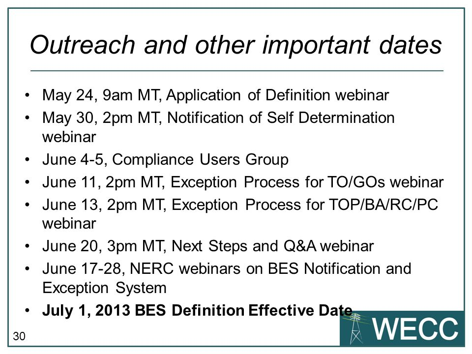 30 May 24, 9am MT, Application of Definition webinar May 30, 2pm MT, Notification of Self Determination webinar June 4-5, Compliance Users Group June