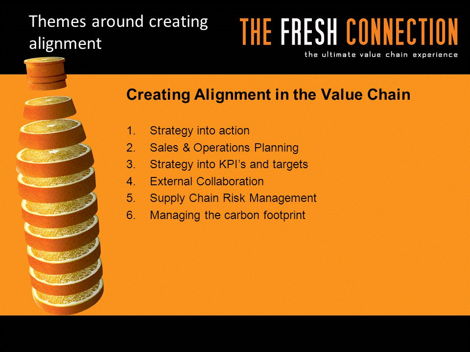 Themes around creating alignment Creating Alignment in the Value Chain 1.Strategy into action 2.Sales & Operations Planning 3.Strategy into KPI's and