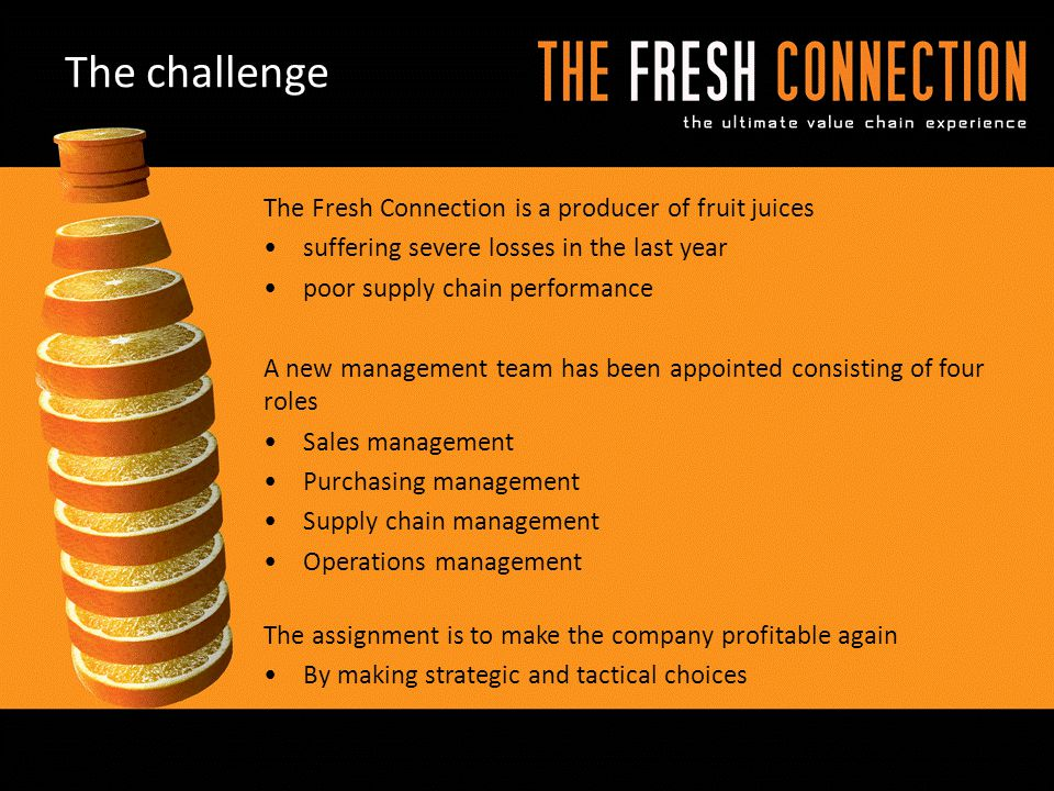 The Fresh Connection is a producer of fruit juices suffering severe losses in the last year poor supply chain performance A new management team has be