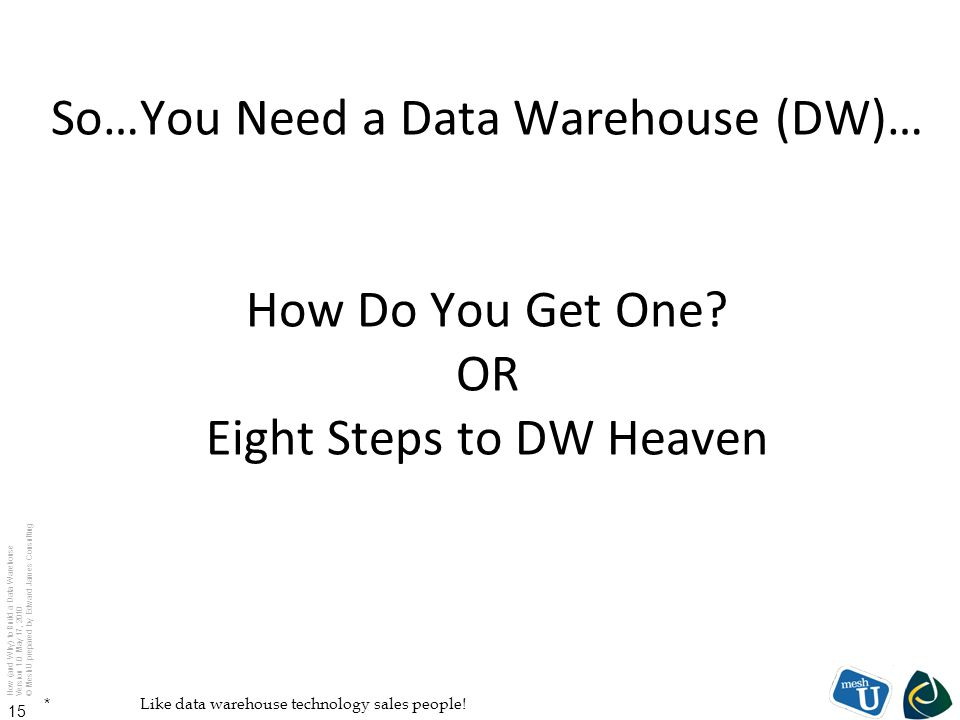 How (and Why) to Build a Data Warehouse Version 1.0 May 17, 2010 © MeshU prepared by Edward James Consulting 15 So…You Need a Data Warehouse (DW)… How