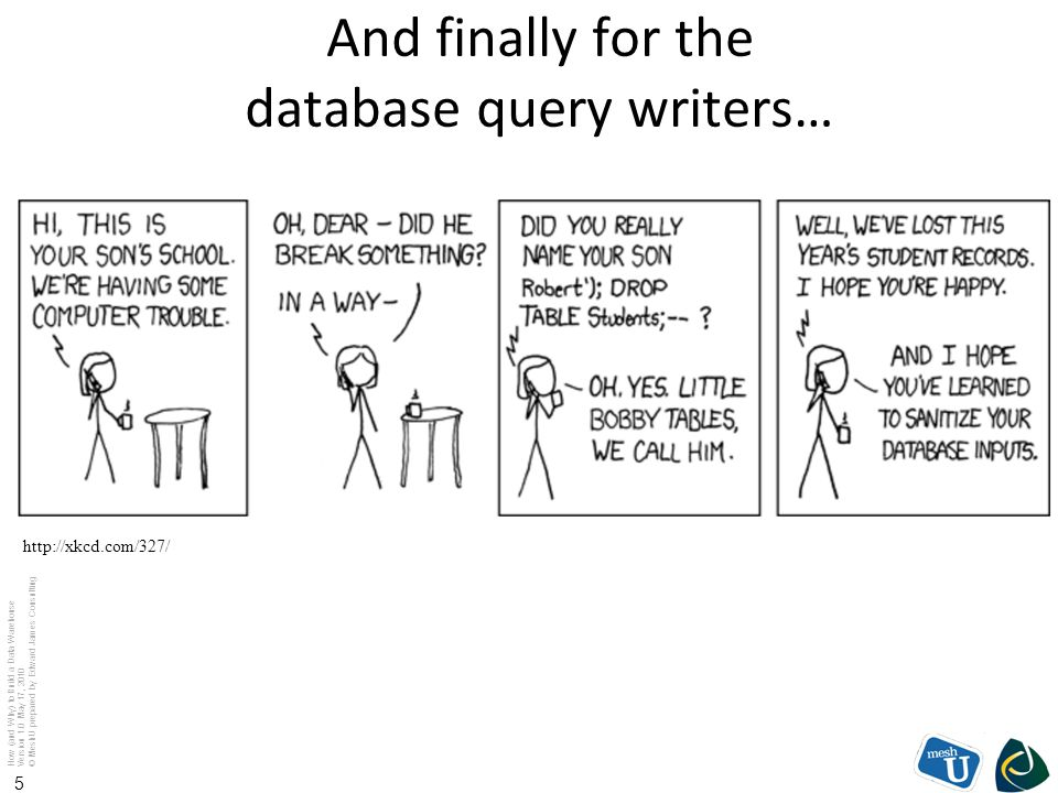 How (and Why) to Build a Data Warehouse Version 1.0 May 17, 2010 © MeshU prepared by Edward James Consulting 5 And finally for the database query writ