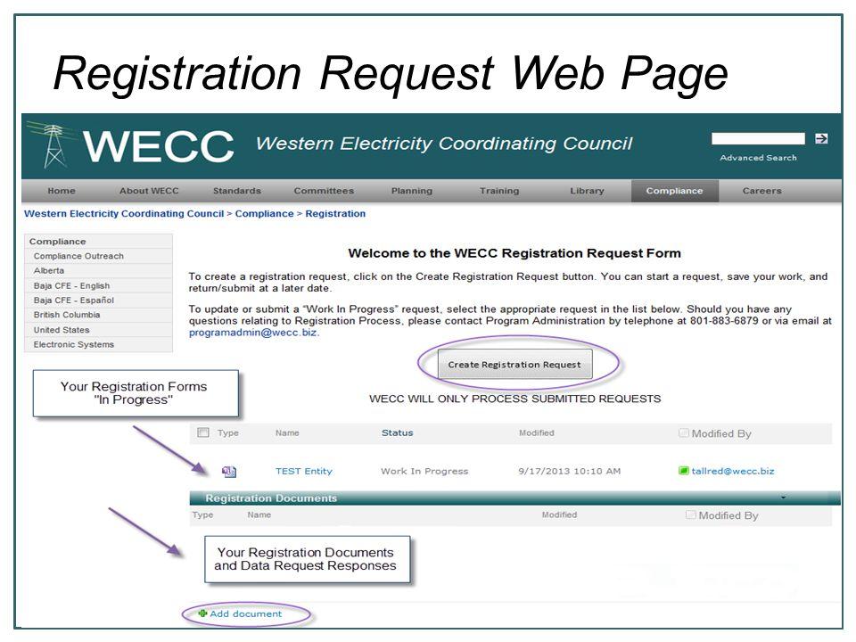 6 Registration Request Web Page