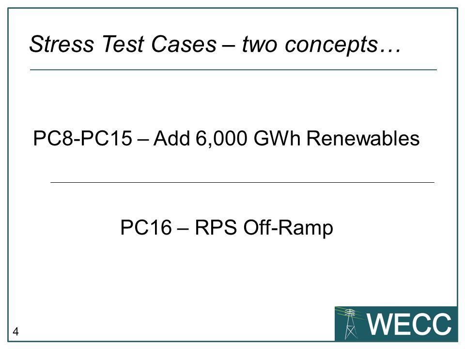 4 PC8-PC15 – Add 6,000 GWh Renewables PC16 – RPS Off-Ramp Stress Test Cases – two concepts…