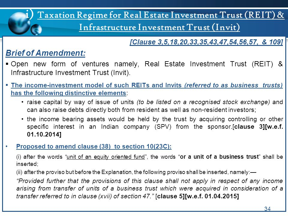 i) Taxation Regime for Real Estate Investment Trust (REIT) & Infrastructure Investment Trust (Invit) [Clause 3,5,18,20,33,35,43,47,54,56,57, & 109] Br