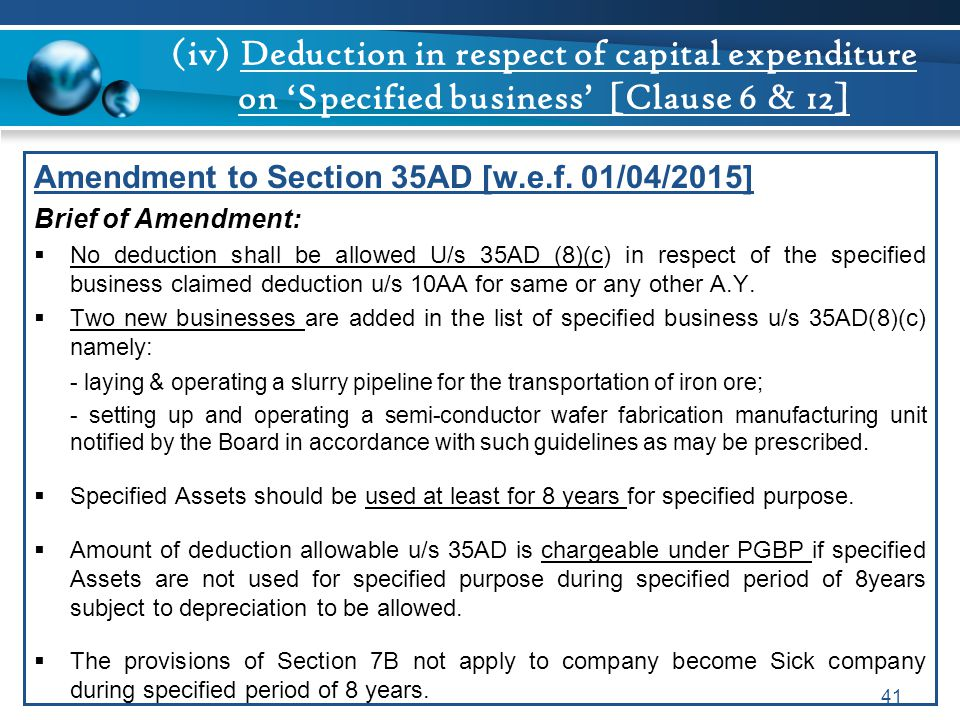 (iv) Deduction in respect of capital expenditure on 'Specified business' [Clause 6 & 12] Amendment to Section 35AD [w.e.f. 01/04/2015] Brief of Amendm