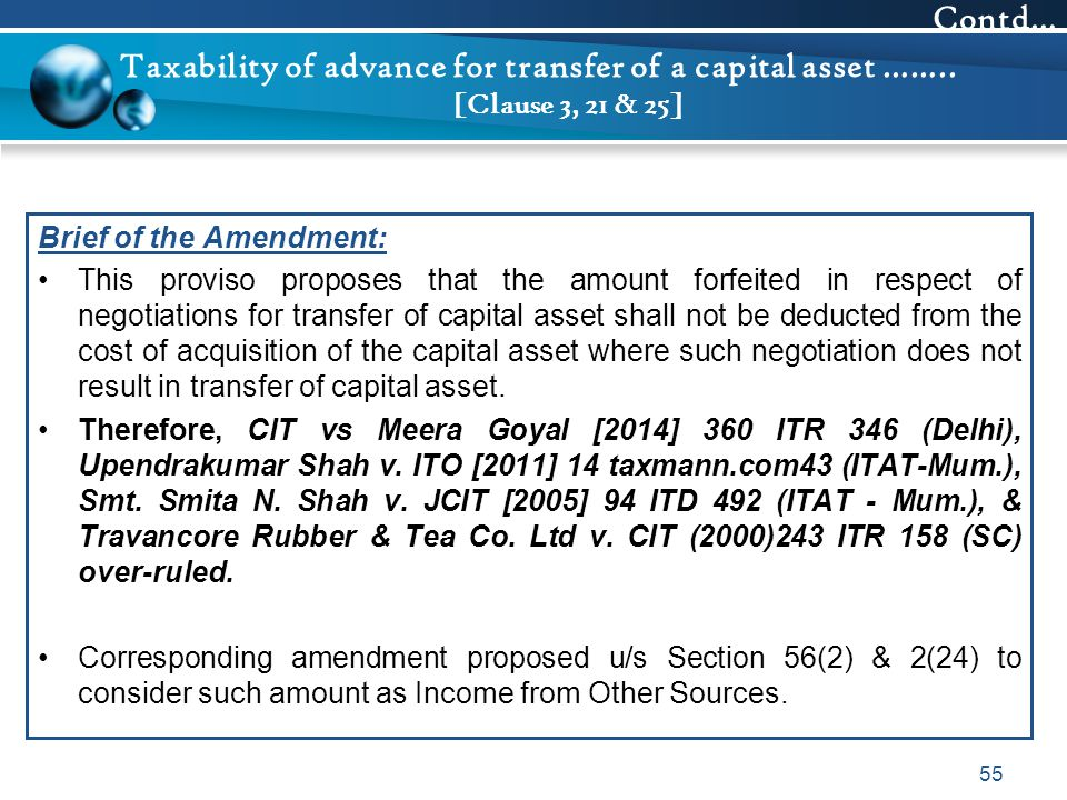Taxability of advance for transfer of a capital asset …….. [Clause 3, 21 & 25] Brief of the Amendment: This proviso proposes that the amount forfeited
