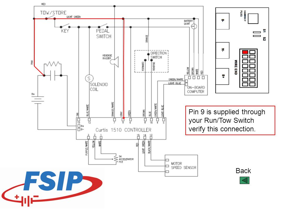 Back Pin 9 is supplied through your Run/Tow Switch verify this connection.