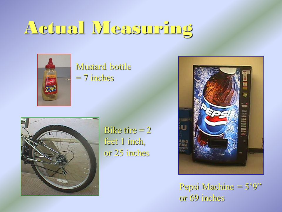 Actual Measuring Mustard bottle = 7 inches Bike tire = 2 feet 1 inch, or 25 inches Pepsi Machine = 5'9 or 69 inches