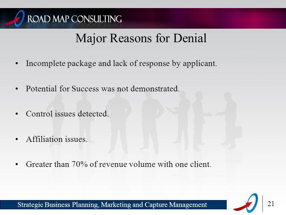 21 Strategic Business Planning, Marketing and Capture Management Major Reasons for Denial Incomplete package and lack of response by applicant.