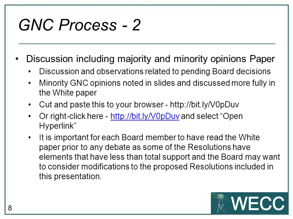 19 Eliminate Class 7 as a member class Modify the definition of Class 3 to include developers, consultants, and members at large with a business interest in WECC Existing class 7 members would reapply for Class 3 membership Modify WECC bylaws to state that members who are classified as inactive for over 12 months will be removed from membership Allow access to WECC data by non-members who can demonstrate a legitimate business need for the data, pay the incremental cost of providing the data, and sign a universal Data Access NDA Class 7 Representation – RE & NRE GNC Unanimous Recommendation