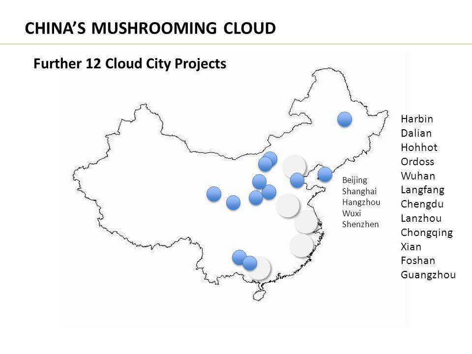 CHINA'S MUSHROOMING CLOUD Further 12 Cloud City Projects Beijing Shanghai Hangzhou Wuxi Shenzhen Harbin Dalian Hohhot Ordoss Wuhan Langfang Chengdu La
