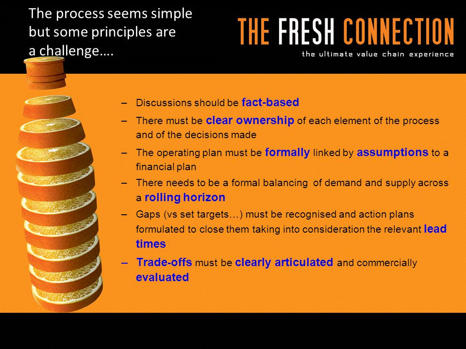 The process seems simple but some principles are a challenge…. –Discussions should be fact-based –There must be clear ownership of each element of the