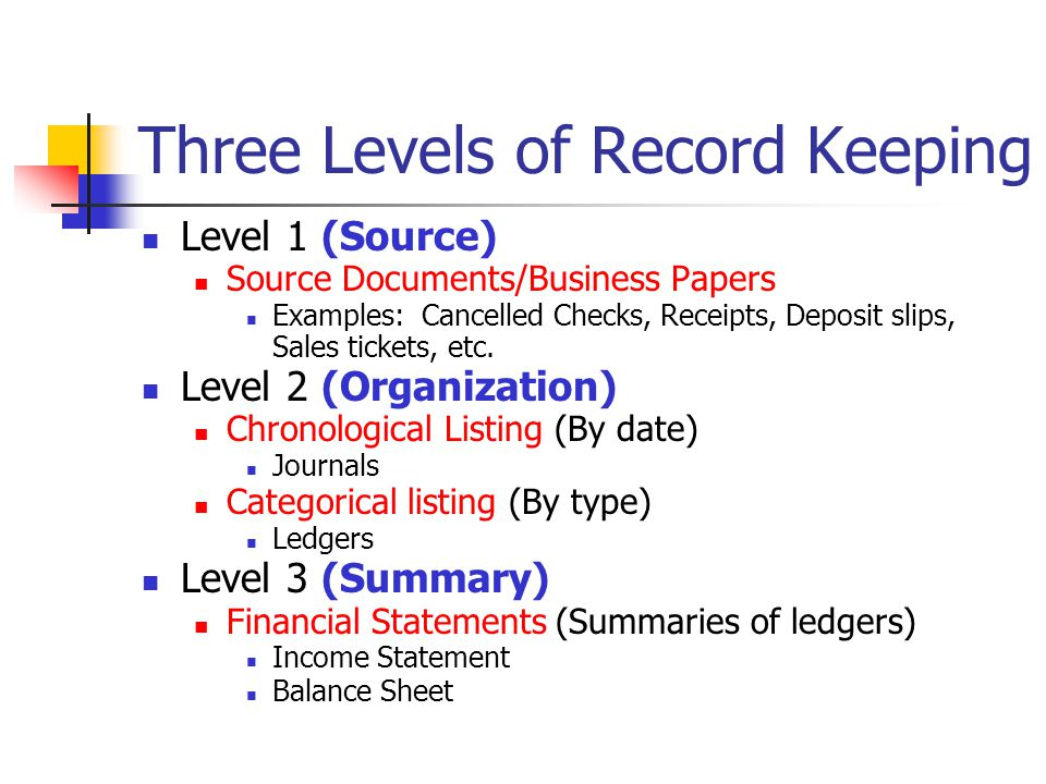 Three Levels of Record Keeping Level 1 (Source) Source Documents/Business Papers Examples: Cancelled Checks, Receipts, Deposit slips, Sales tickets, etc.