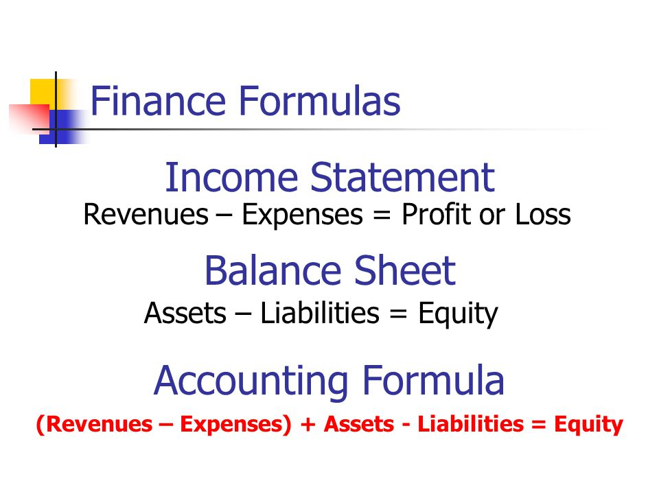 Finance Formulas Revenues – Expenses = Profit or Loss Income Statement Balance Sheet Assets – Liabilities = Equity (Revenues – Expenses) + Assets - Liabilities = Equity Accounting Formula