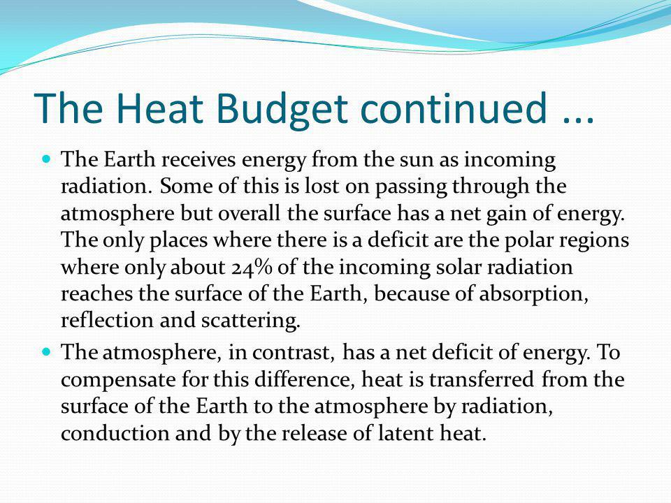 The Heat Budget continued... The Earth receives energy from the sun as incoming radiation. Some of this is lost on passing through the atmosphere but