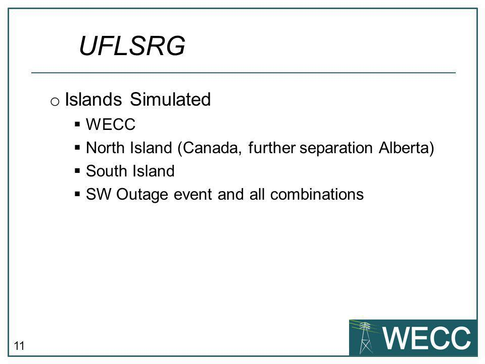 11 o Islands Simulated  WECC  North Island (Canada, further separation Alberta)  South Island  SW Outage event and all combinations UFLSRG