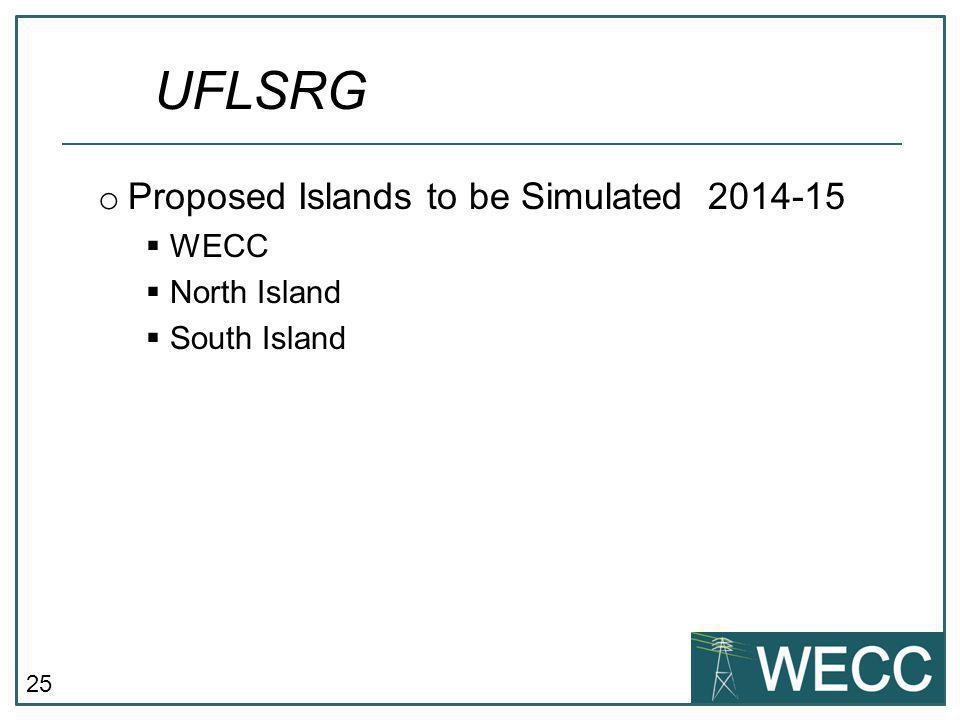 25 o Proposed Islands to be Simulated 2014-15  WECC  North Island  South Island UFLSRG