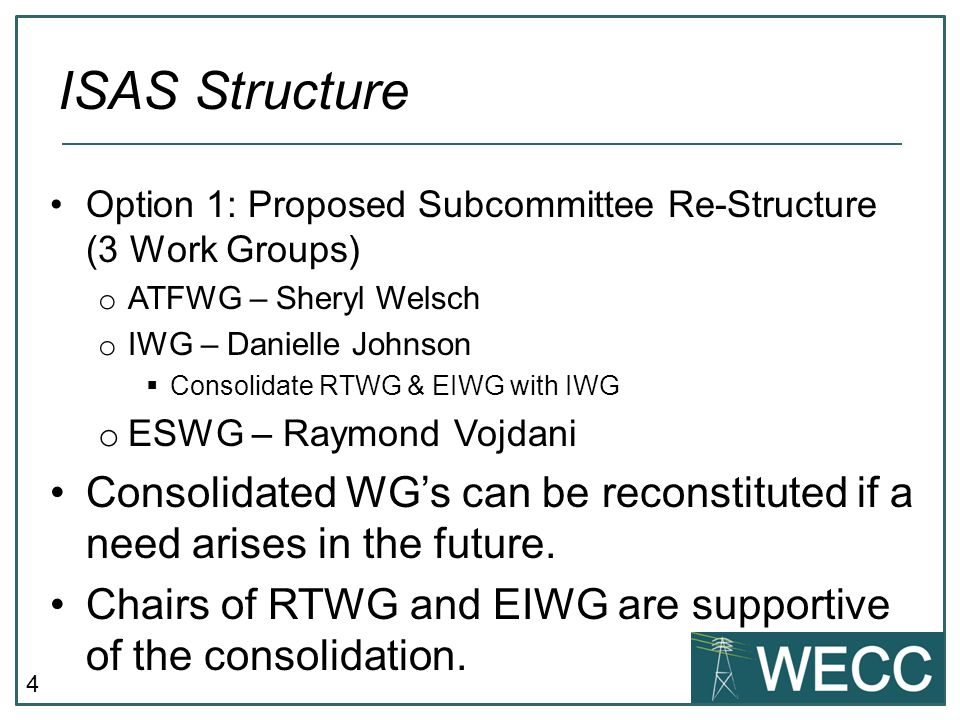 5 Option 2 o Restructure ISAS to absorb all work groups.