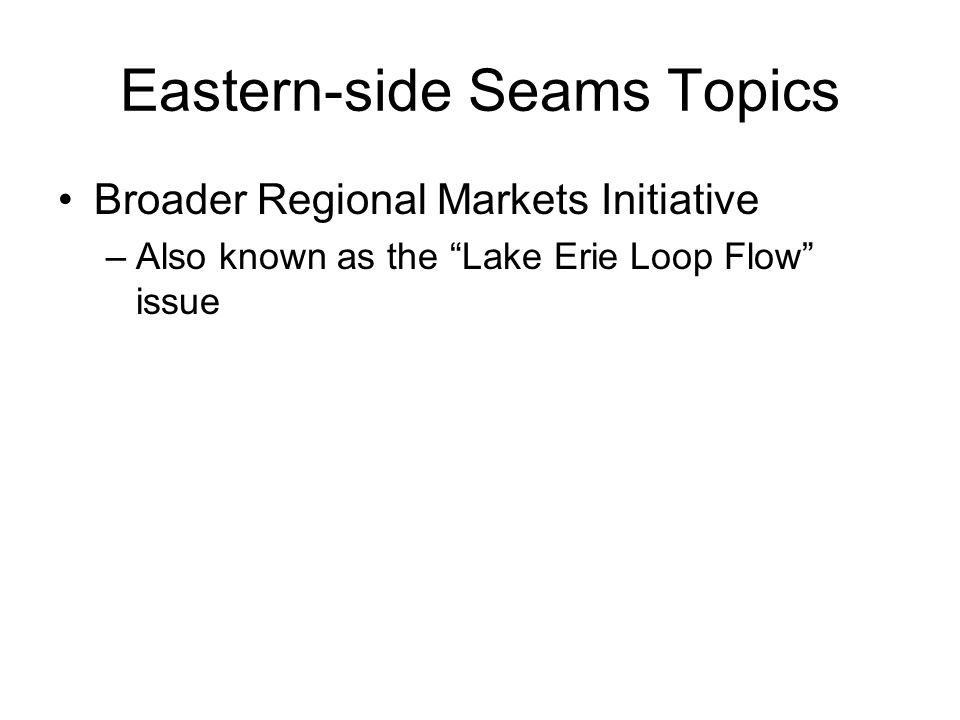 Eastern-side Seams Topics Broader Regional Markets Initiative –Also known as the Lake Erie Loop Flow issue
