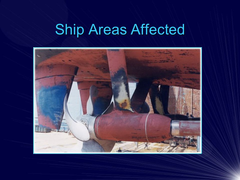 Twisted Rudder Coating Ship Test Top: Loss of anti- corrosive primer and damage to substrate Bottom: Polyurea application to rudders and propellers