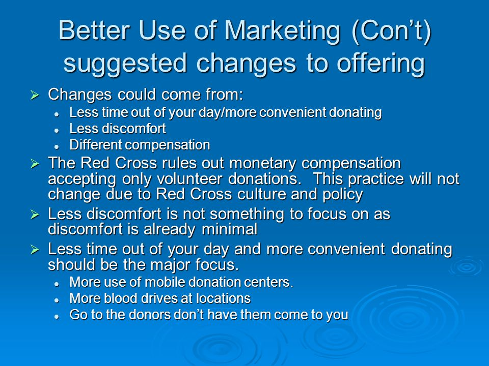 Better Use of Marketing (Con't) suggested changes to offering  Changes could come from: Less time out of your day/more convenient donating Less time