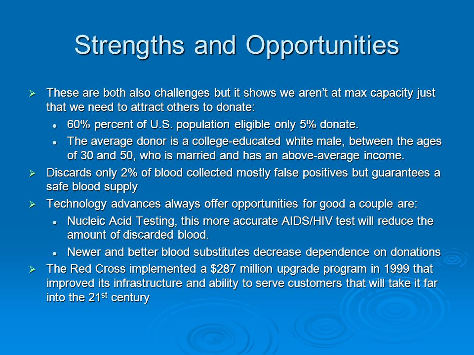 Strengths and Opportunities  These are both also challenges but it shows we aren't at max capacity just that we need to attract others to donate: 60%