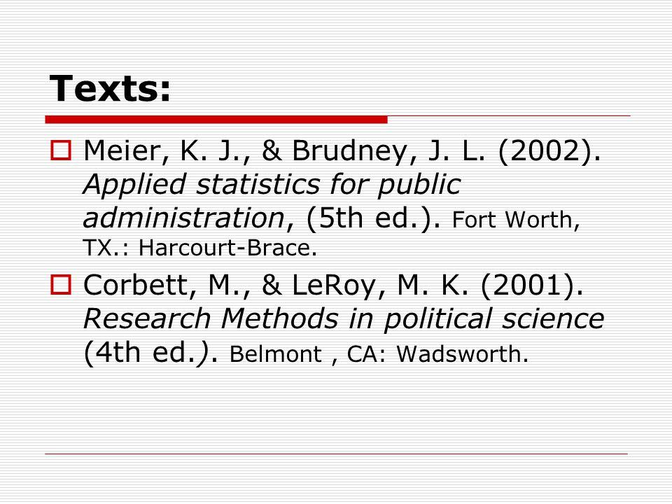 Texts:  Meier, K. J., & Brudney, J. L. (2002).
